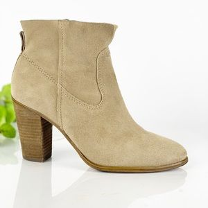 Vince Camuto Tan Leather Suede Bootie Heel Slip On